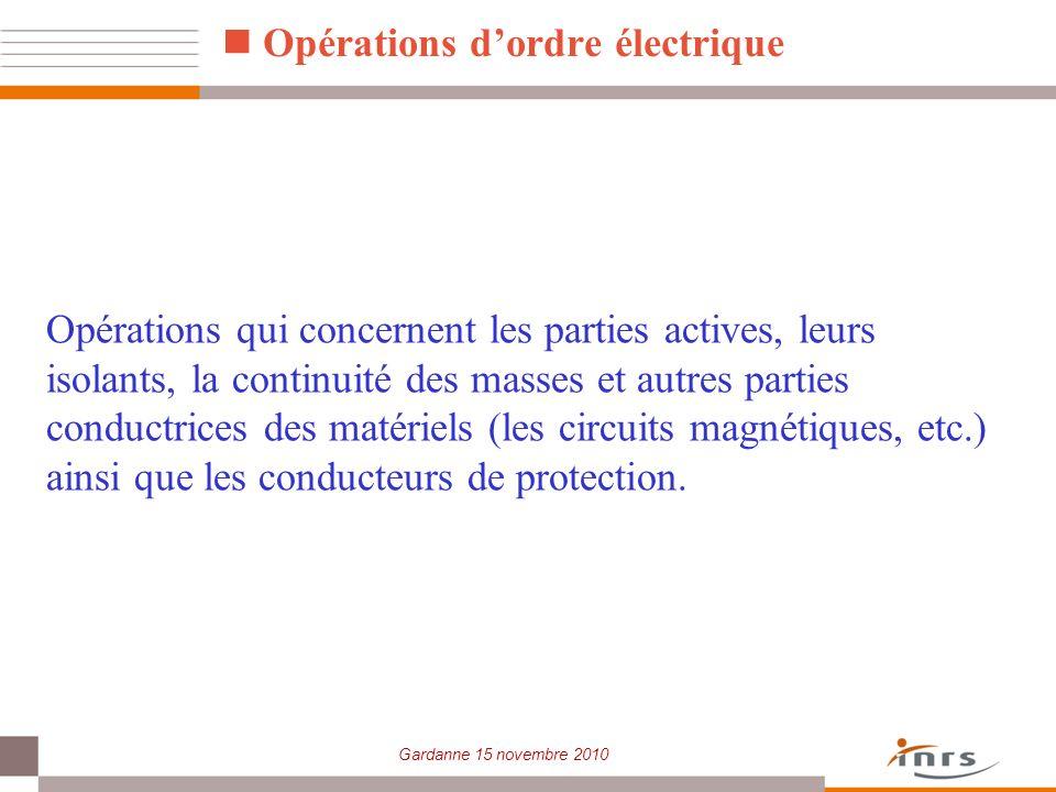 Gardanne 15 novembre 2010 Opérations qui concernent les parties actives, leurs isolants, la continuité des masses et autres parties conductrices des m