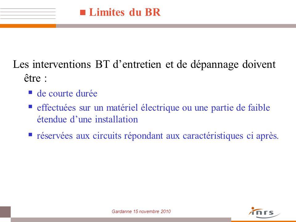 Gardanne 15 novembre 2010 Limites du BR Les interventions BT dentretien et de dépannage doivent être : de courte durée effectuées sur un matériel élec