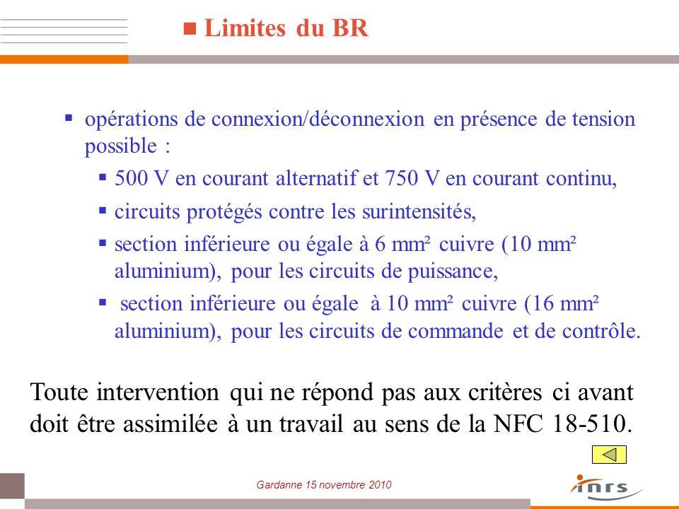Gardanne 15 novembre 2010 Limites du BR opérations de connexion/déconnexion en présence de tension possible : 500 V en courant alternatif et 750 V en