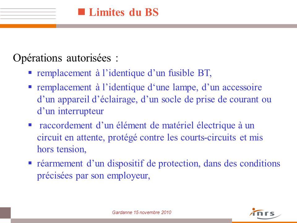 Gardanne 15 novembre 2010 Limites du BS Opérations autorisées : remplacement à lidentique dun fusible BT, remplacement à lidentique dune lampe, dun ac