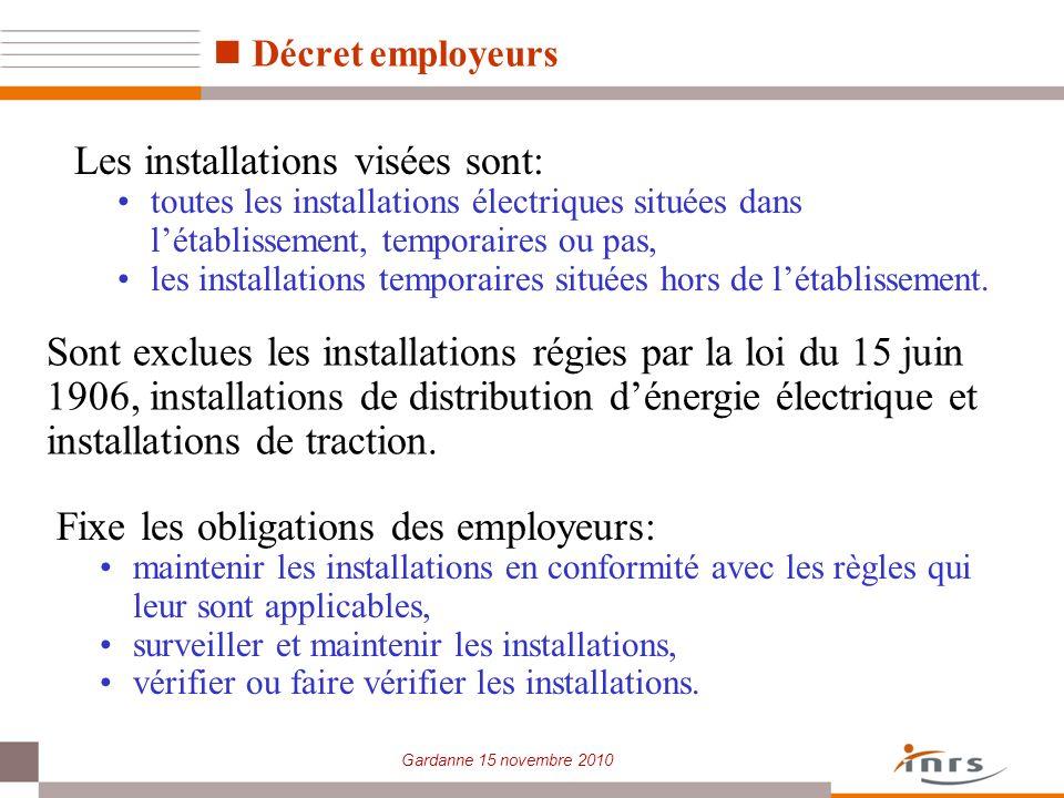 Gardanne 15 novembre 2010 Décret employeurs Fixe les obligations des employeurs: maintenir les installations en conformité avec les règles qui leur so