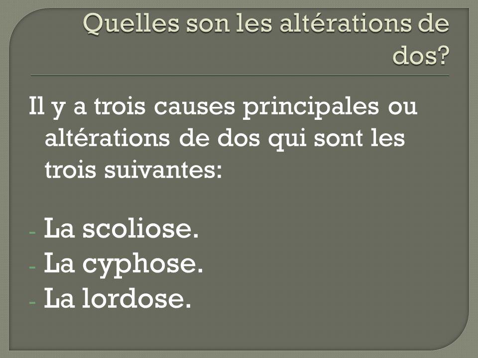 Il y a trois causes principales ou altérations de dos qui sont les trois suivantes: - La scoliose. - La cyphose. - La lordose.