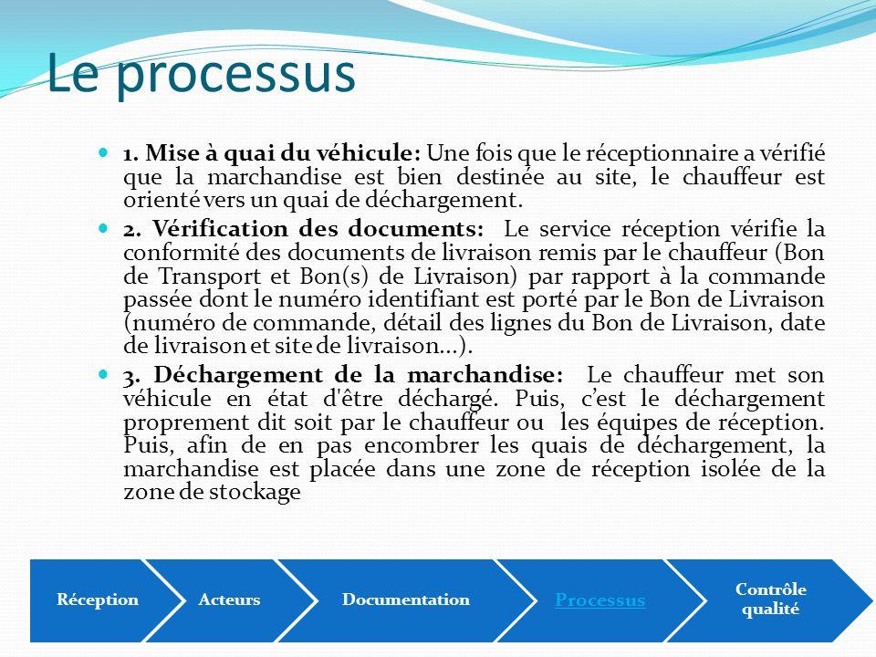 Le processus 1. Mise à quai du véhicule: Une fois que le réceptionnaire a vérifié que la marchandise est bien destinée au site, le chauffeur est orien