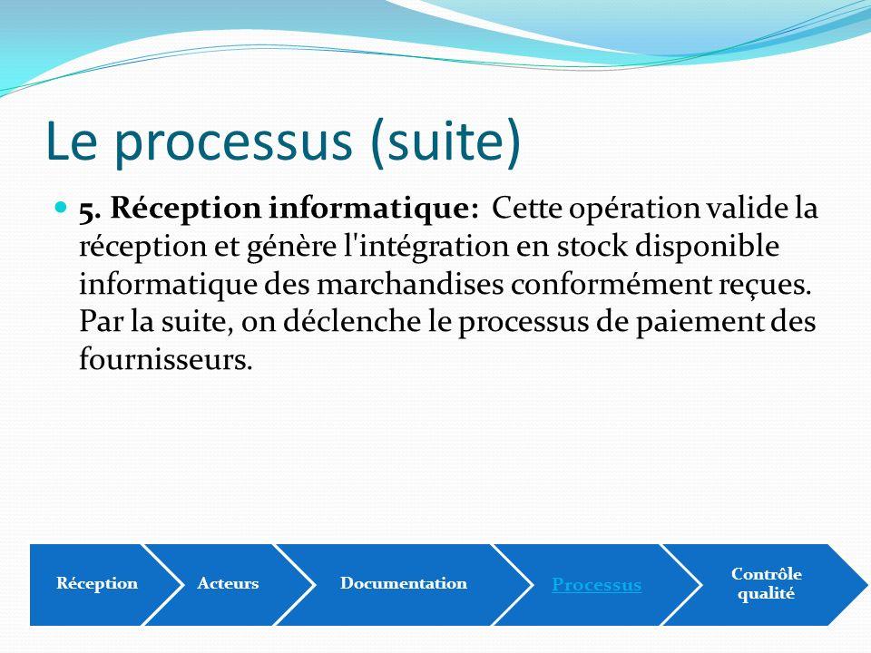 Le processus (suite) 5. Réception informatique: Cette opération valide la réception et génère l'intégration en stock disponible informatique des march