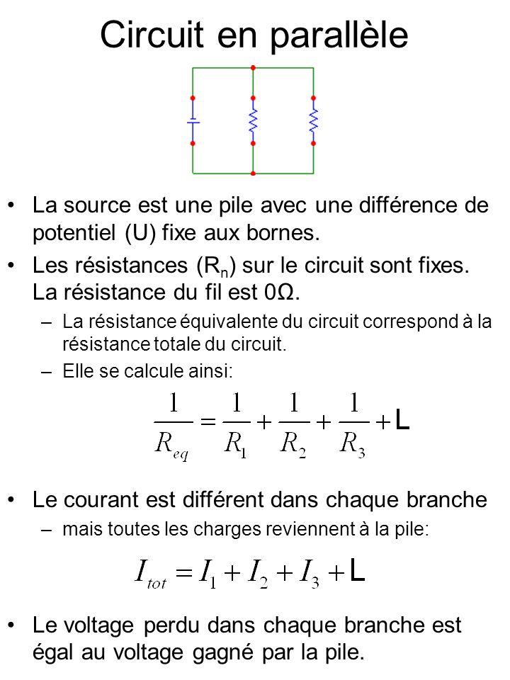 Circuit en parallèle La source est une pile avec une différence de potentiel (U) fixe aux bornes. Les résistances (R n ) sur le circuit sont fixes. La