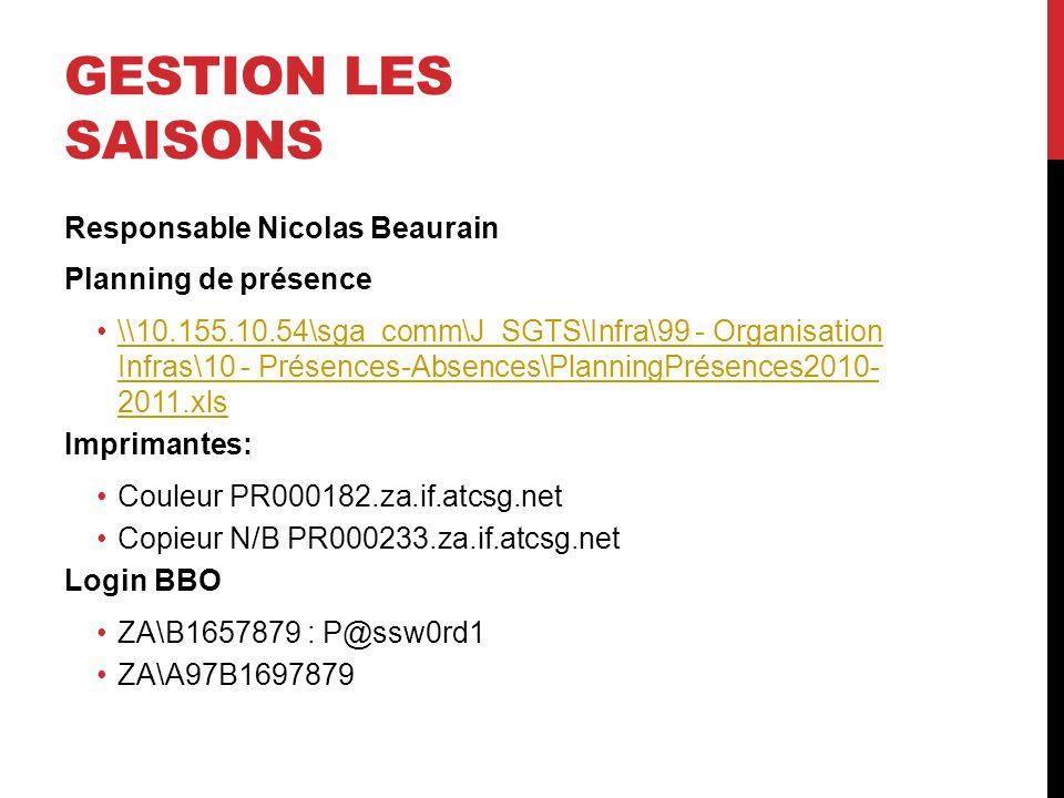 GESTION LES SAISONS Responsable Nicolas Beaurain Planning de présence \\10.155.10.54\sga_comm\J_SGTS\Infra\99 - Organisation Infras\10 - Présences-Abs