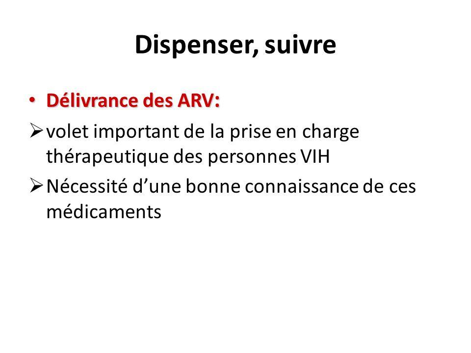 Dispenser, suivre Délivrance des ARV : Délivrance des ARV : volet important de la prise en charge thérapeutique des personnes VIH Nécessité dune bonne connaissance de ces médicaments