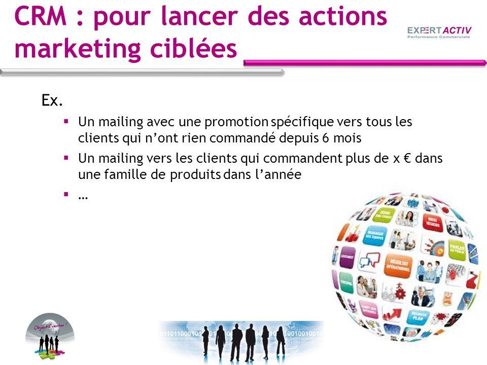 CRM : pour lancer des actions marketing ciblées Ex. Un mailing avec une promotion spécifique vers tous les clients qui nont rien commandé depuis 6 moi
