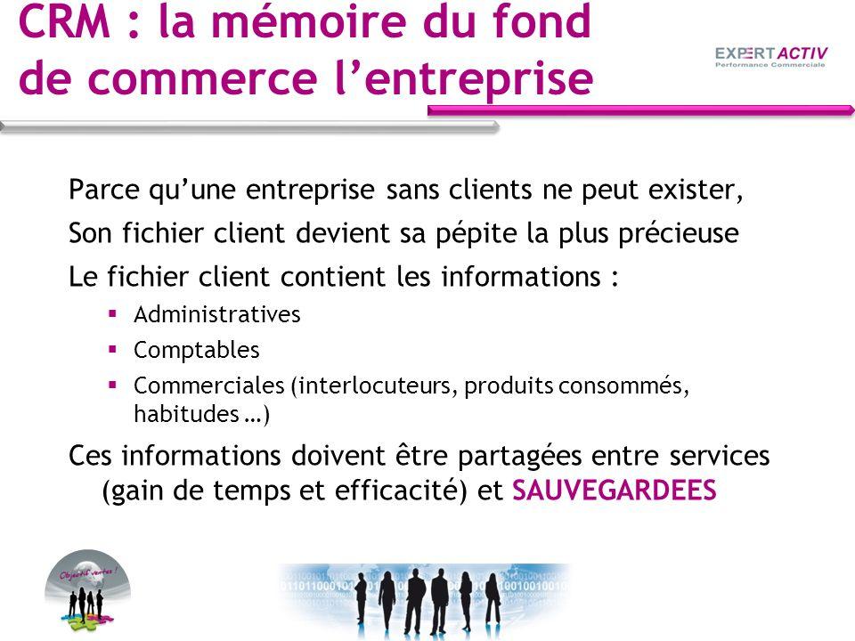 CRM : la mémoire du fond de commerce lentreprise Parce quune entreprise sans clients ne peut exister, Son fichier client devient sa pépite la plus pré