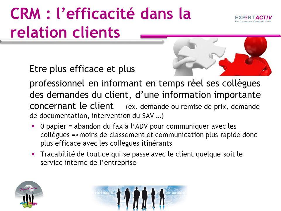 CRM : lefficacité dans la relation clients Etre plus efficace et plus professionnel en informant en temps réel ses collègues des demandes du client, d