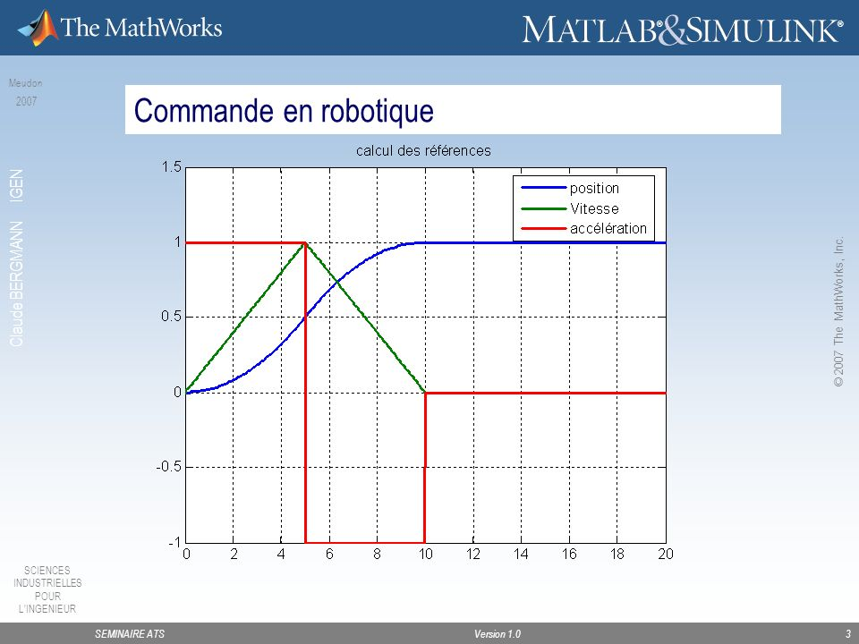 SEMINAIRE ATSVersion 1.0 SCIENCES INDUSTRIELLES POUR LINGENIEUR Meudon 2007 Claude BERGMANN IGEN ® ® © 2007 The MathWorks, Inc.