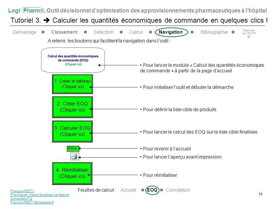 LogiPharm®, Outil décisionnel doptimisation des approvisionnements pharmaceutiques à lhôpital Tutoriel 3. Calculer les quantités économiques de comman
