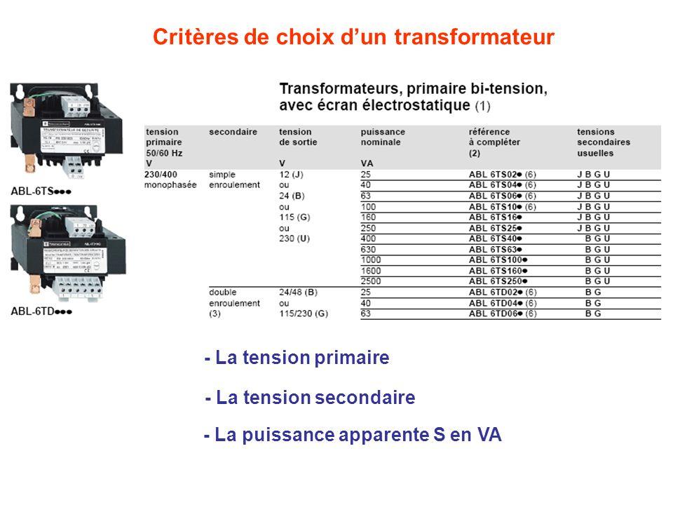 Critères de choix dun transformateur - La tension primaire - La tension secondaire - La puissance apparente S en VA