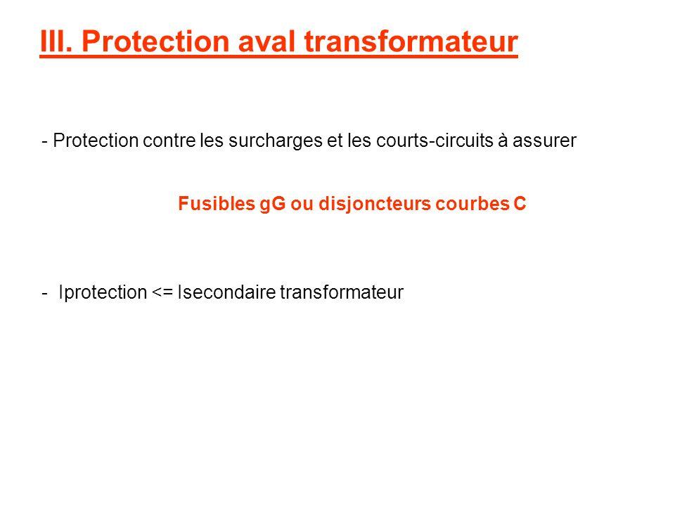 III. Protection aval transformateur - Protection contre les surcharges et les courts-circuits à assurer - Iprotection <= Isecondaire transformateur Fu