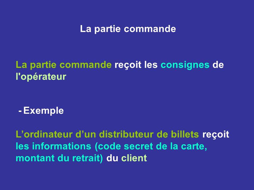La partie commande La partie commande reçoit les consignes de l'opérateur - Exemple Lordinateur dun distributeur de billets reçoit les informations (c