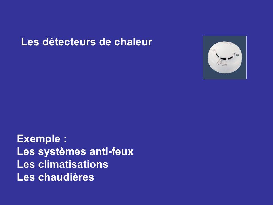 Les détecteurs de chaleur Exemple : Les systèmes anti-feux Les climatisations Les chaudières