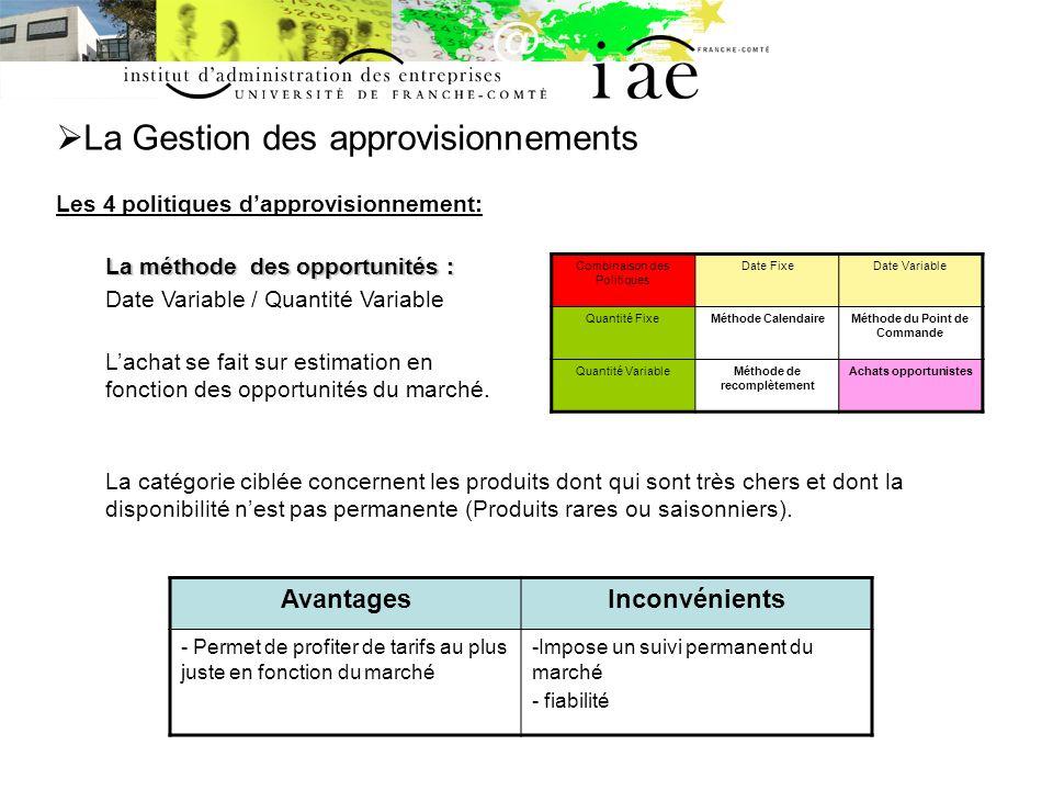 La Gestion des approvisionnements Les 4 politiques dapprovisionnement: La méthode des opportunités : Date Variable / Quantité Variable Lachat se fait
