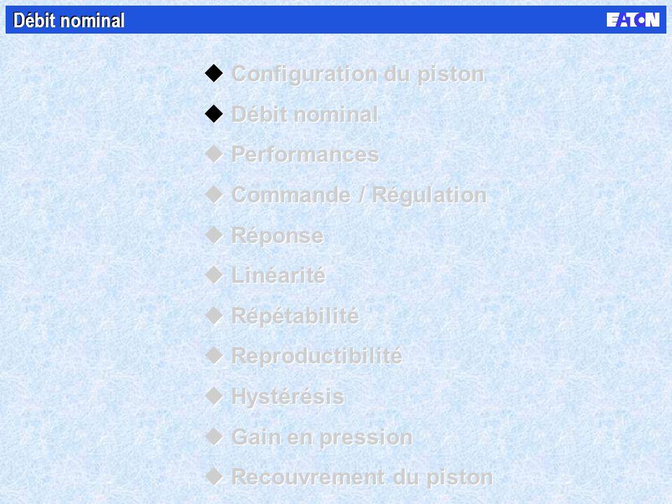Débit nominal uConfiguration du piston uDébit nominal uPerformances uCommande / Régulation uRéponse uLinéarité uRépétabilité uReproductibilité uHystérésis uGain en pression uRecouvrement du piston uConfiguration du piston uDébit nominal uPerformances uCommande / Régulation uRéponse uLinéarité uRépétabilité uReproductibilité uHystérésis uGain en pression uRecouvrement du piston