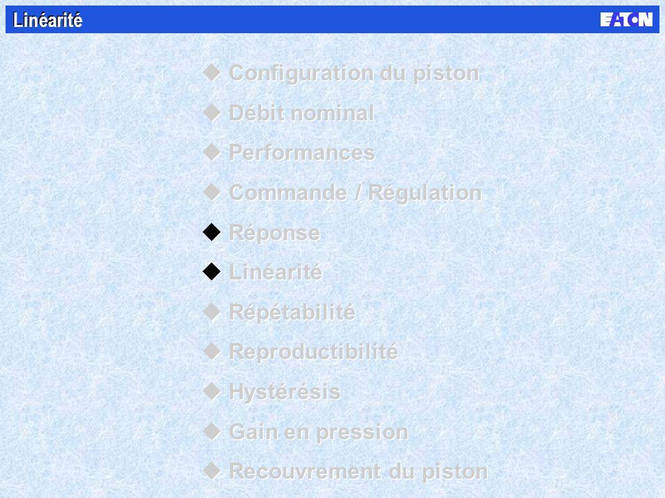 Linéarité uConfiguration du piston uDébit nominal uPerformances uCommande / Régulation uRéponse uLinéarité uRépétabilité uReproductibilité uHystérésis uGain en pression uRecouvrement du piston uConfiguration du piston uDébit nominal uPerformances uCommande / Régulation uRéponse uLinéarité uRépétabilité uReproductibilité uHystérésis uGain en pression uRecouvrement du piston