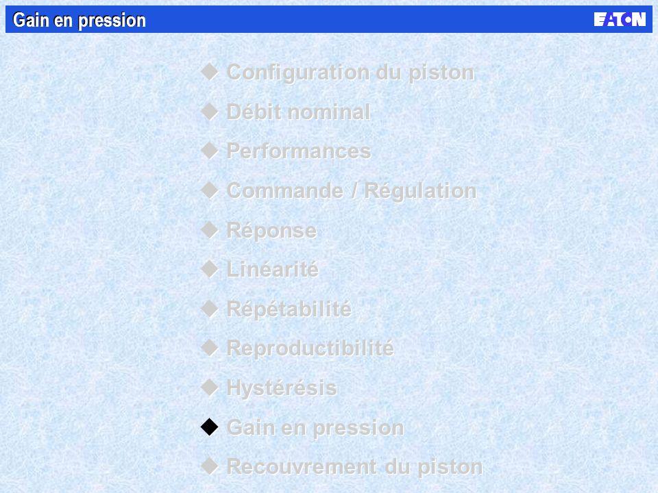 Gain en pression uConfiguration du piston uDébit nominal uPerformances uCommande / Régulation uRéponse uLinéarité uRépétabilité uReproductibilité uHystérésis uGain en pression uRecouvrement du piston uConfiguration du piston uDébit nominal uPerformances uCommande / Régulation uRéponse uLinéarité uRépétabilité uReproductibilité uHystérésis uGain en pression uRecouvrement du piston