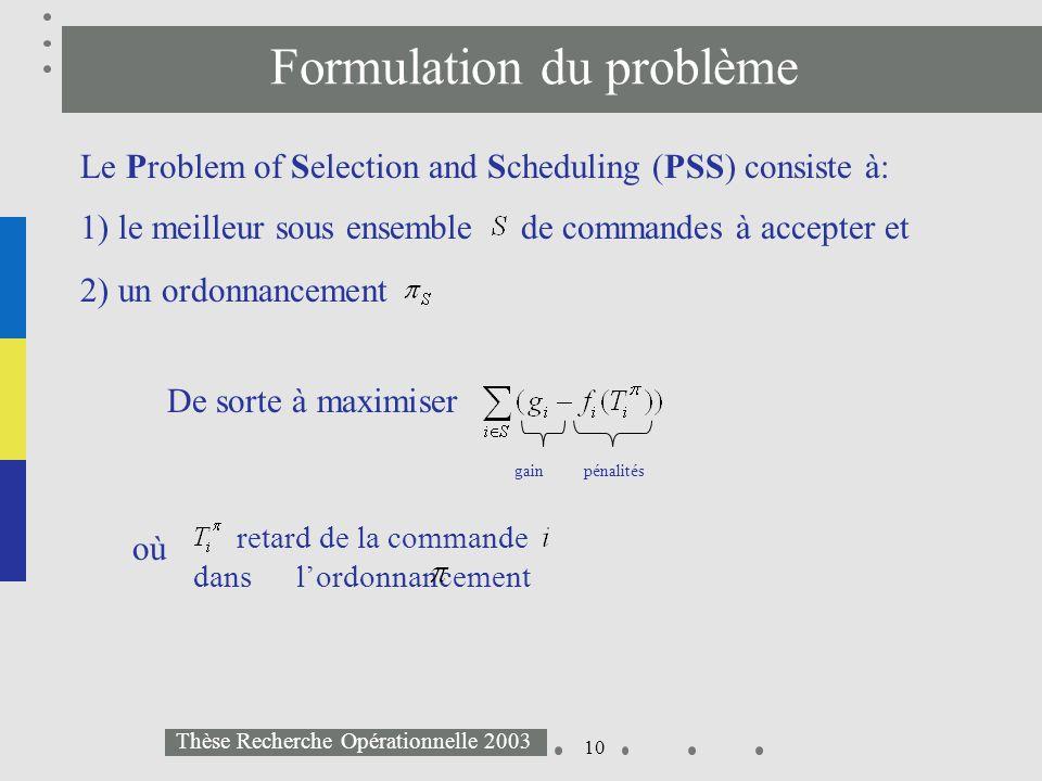 10 Thèse Recherche Opérationnelle 2003 Formulation du problème 1) le meilleur sous ensemble de commandes à accepter et 2) un ordonnancement Le Problem