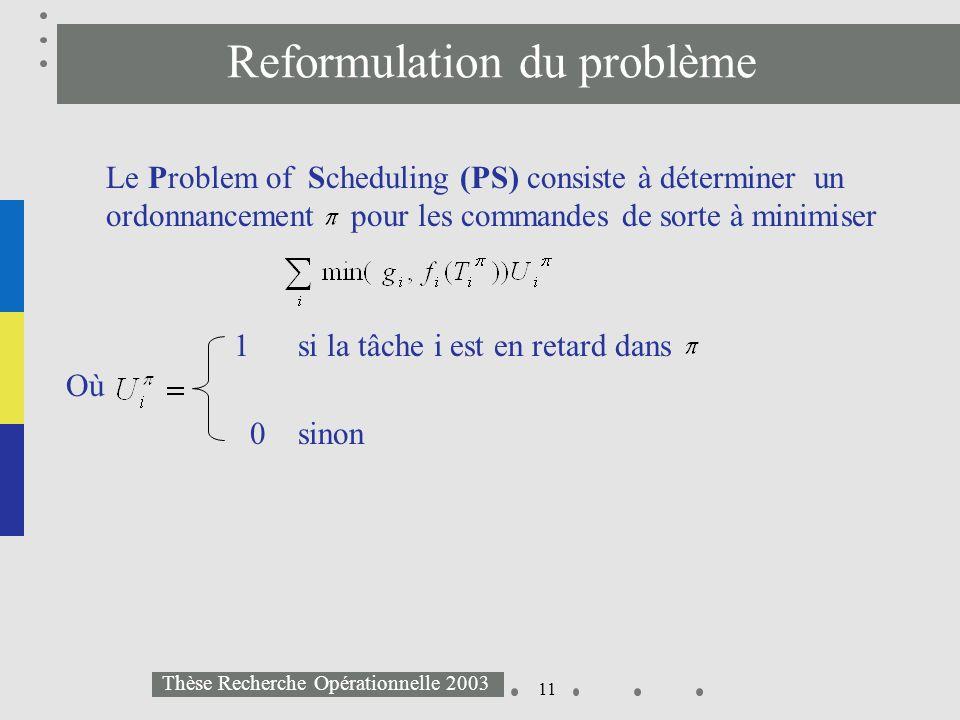 11 Thèse Recherche Opérationnelle 2003 Reformulation du problème Le Problem of Scheduling (PS) consiste à déterminer un ordonnancement pour les comman