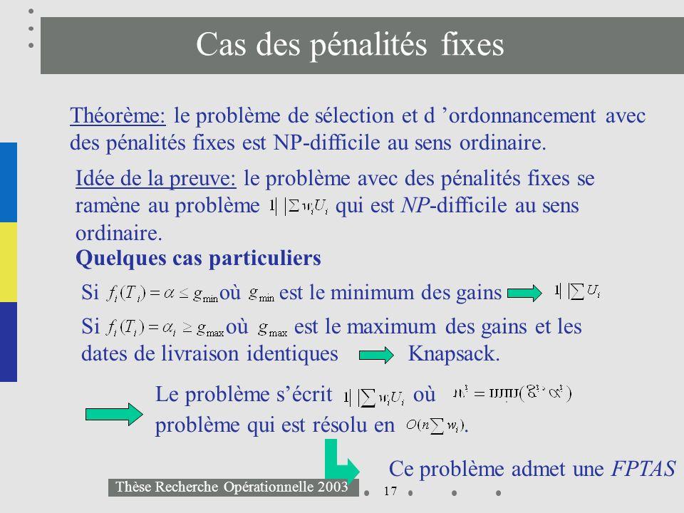 17 Thèse Recherche Opérationnelle 2003 Cas des pénalités fixes Théorème: le problème de sélection et d ordonnancement avec des pénalités fixes est NP-