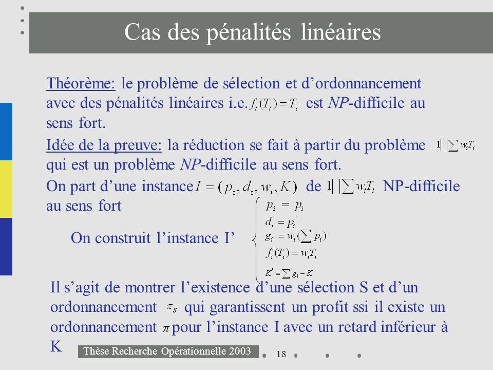 18 Thèse Recherche Opérationnelle 2003 Cas des pénalités linéaires Théorème: le problème de sélection et dordonnancement avec des pénalités linéaires