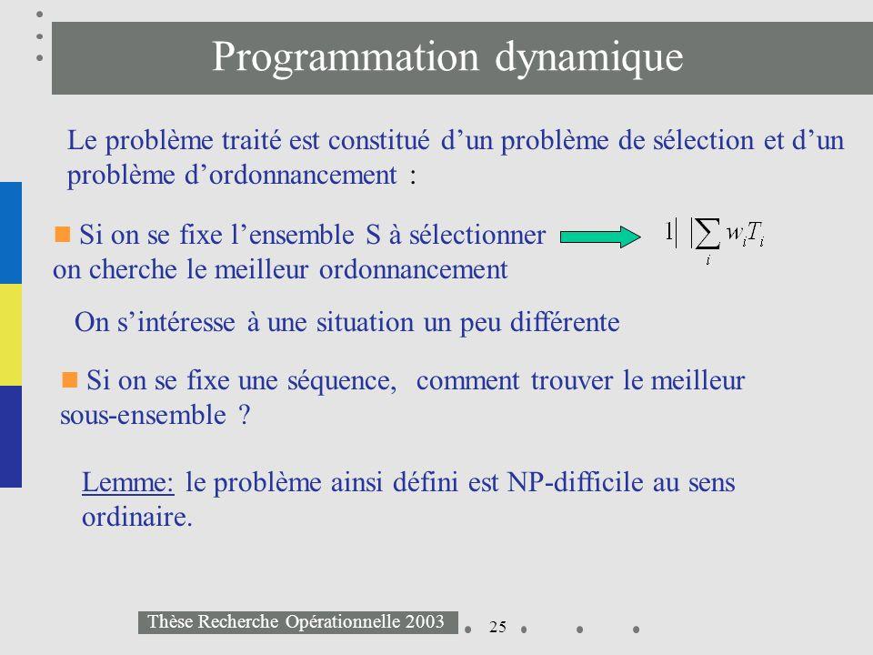 25 Thèse Recherche Opérationnelle 2003 Programmation dynamique Le problème traité est constitué dun problème de sélection et dun problème dordonnancem
