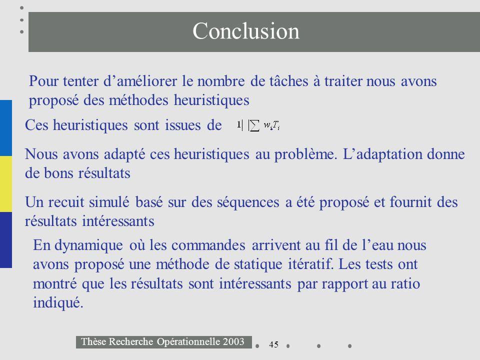 45 Thèse Recherche Opérationnelle 2003 Conclusion Pour tenter daméliorer le nombre de tâches à traiter nous avons proposé des méthodes heuristiques En