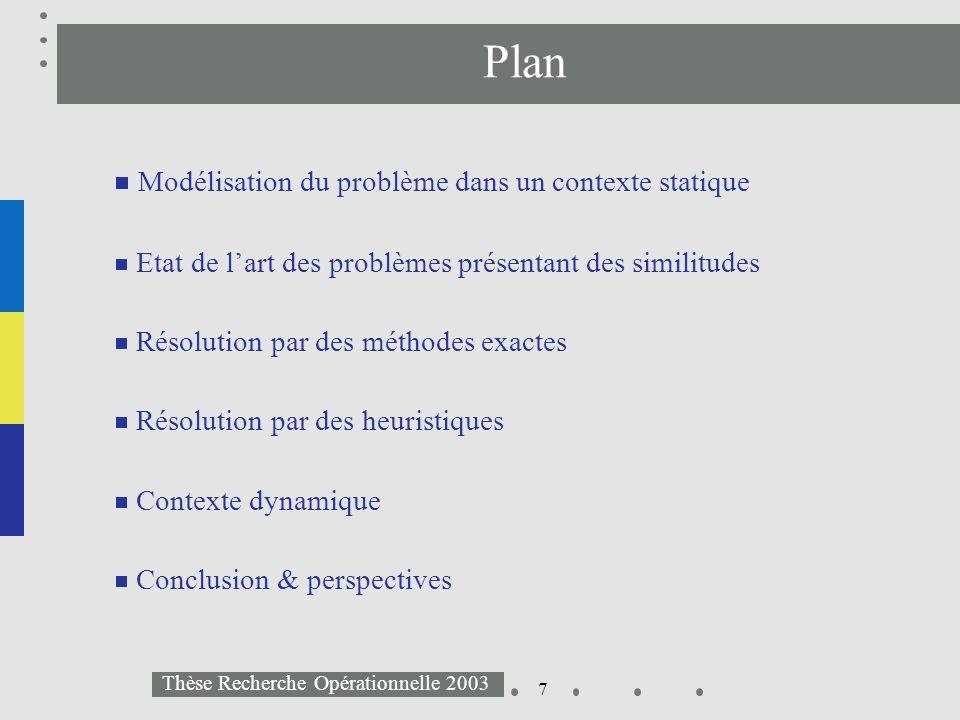8 Thèse Recherche Opérationnelle 2003 Plan Modélisation du problème dans un contexte statique Etat de lart des problèmes présentant des similitudes Résolution par des méthodes exactes Résolution par des heuristiques Contexte dynamique Conclusion & perspectives