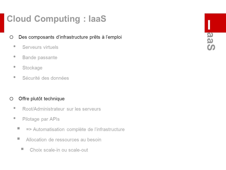 Cloud Computing : IaaS o Des composants dinfrastructure prêts à lemploi Serveurs virtuels Bande passante Stockage Sécurité des données o Offre plutôt