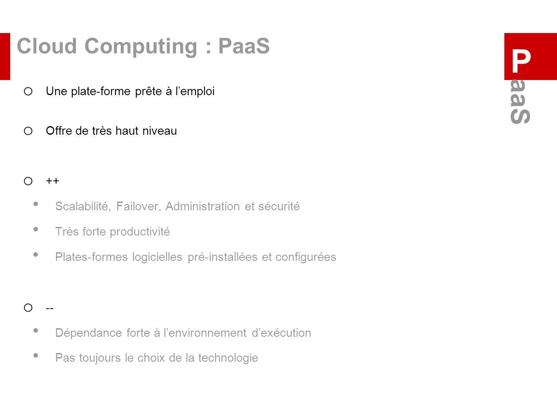 Cloud Computing : PaaS o Une plate-forme prête à lemploi o Offre de très haut niveau o ++ Scalabilité, Failover, Administration et sécurité Très forte