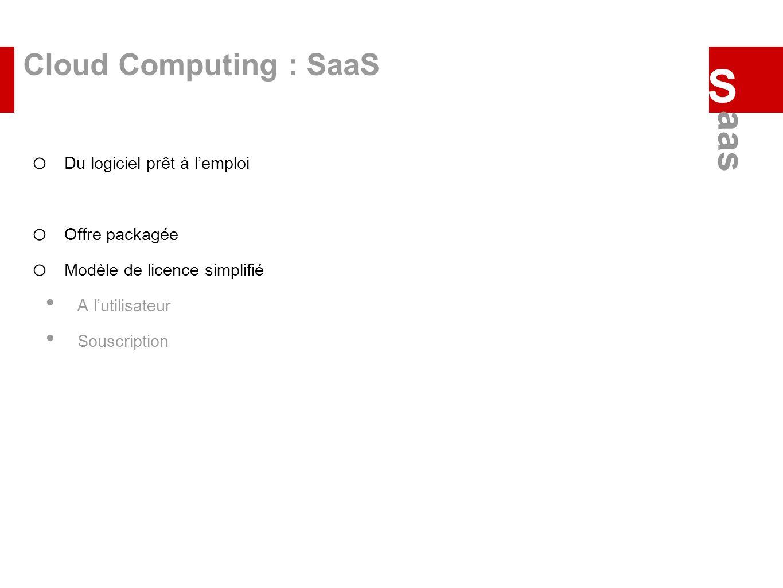 Cloud Computing : SaaS o Du logiciel prêt à lemploi o Offre packagée o Modèle de licence simplifié A lutilisateur Souscription S aas