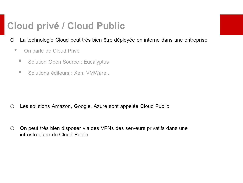 Cloud privé / Cloud Public o La technologie Cloud peut très bien être déployée en interne dans une entreprise On parle de Cloud Privé Solution Open So