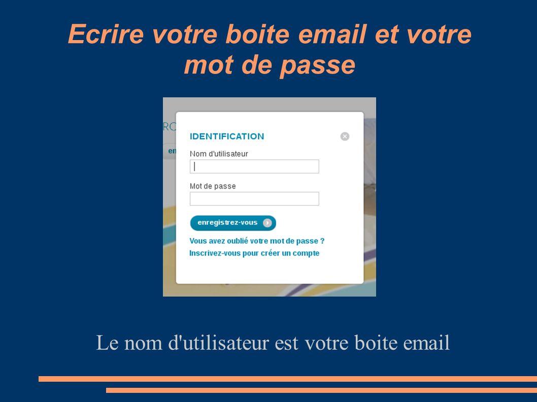 Ecrire votre boite email et votre mot de passe Le nom d'utilisateur est votre boite email