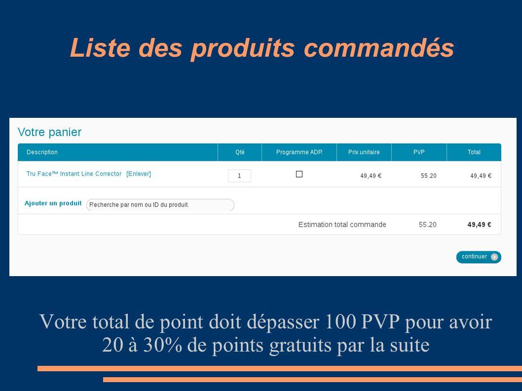 Liste des produits commandés Votre total de point doit dépasser 100 PVP pour avoir 20 à 30% de points gratuits par la suite