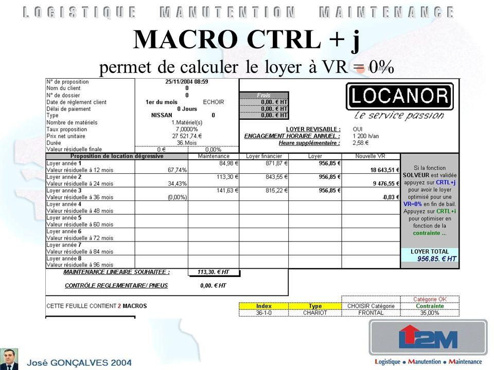 MACRO CTRL + j permet de calculer le loyer à VR = 0%