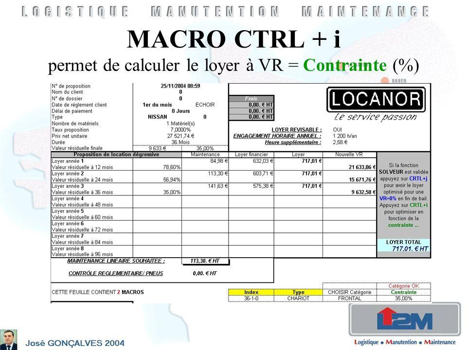 MACRO CTRL + i permet de calculer le loyer à VR = Contrainte (%)