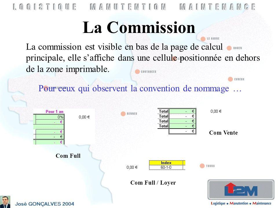 La Commission La commission est visible en bas de la page de calcul principale, elle saffiche dans une cellule positionnée en dehors de la zone imprimable.