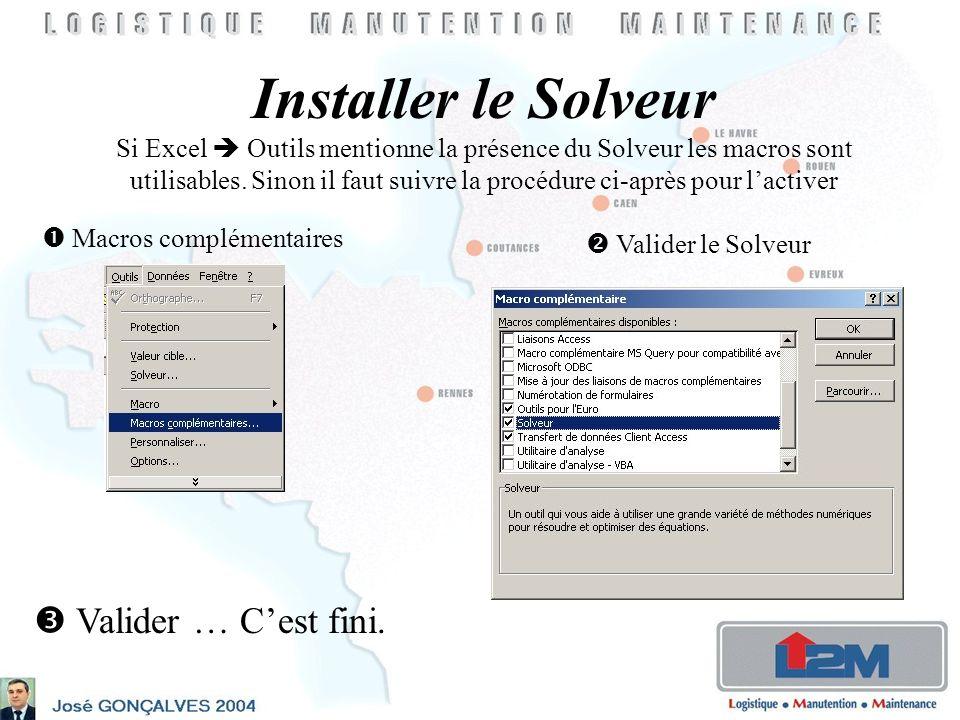 Installer le Solveur Si Excel Outils mentionne la présence du Solveur les macros sont utilisables.
