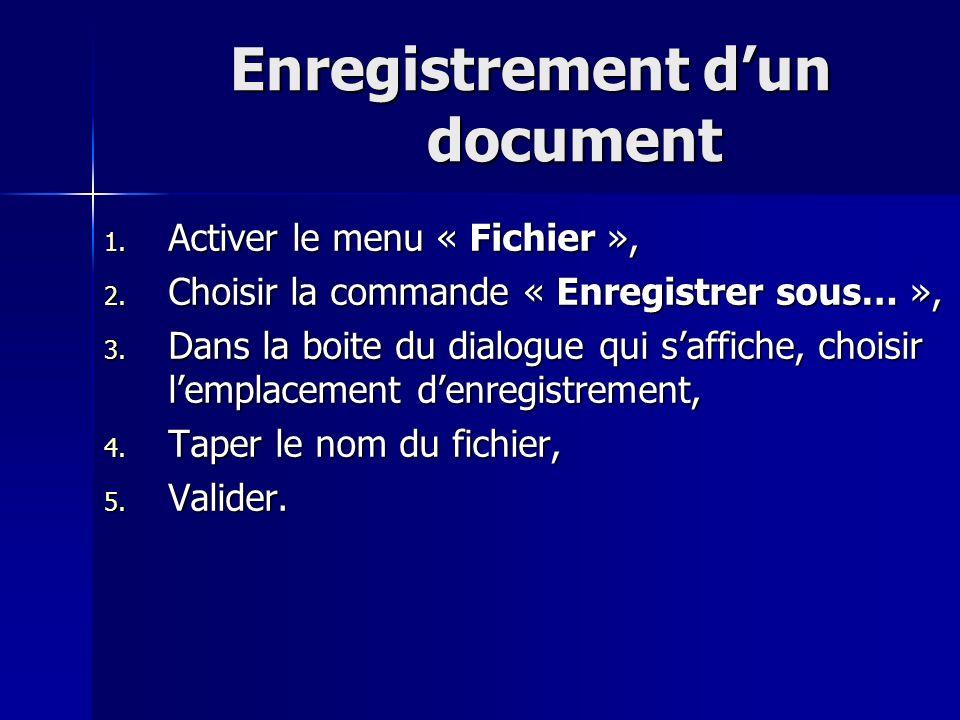 Enregistrement dun document 1. Activer le menu « Fichier », 2. Choisir la commande « Enregistrer sous… », 3. Dans la boite du dialogue qui saffiche, c