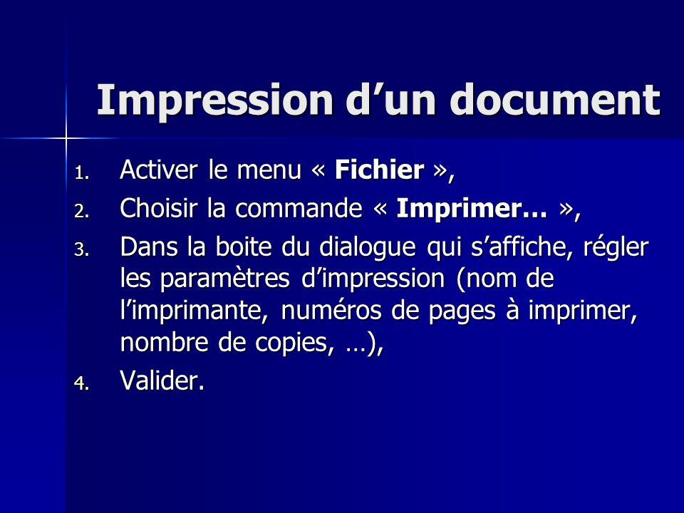 Impression dun document 1. Activer le menu « Fichier », 2. Choisir la commande « Imprimer… », 3. Dans la boite du dialogue qui saffiche, régler les pa