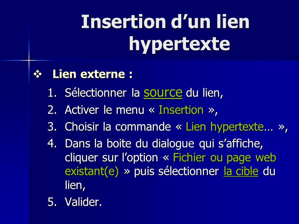 Insertion dun lien hypertexte Lien externe : Lien externe : 1.Sélectionner la source du lien, 2.Activer le menu « Insertion », 3.Choisir la commande «