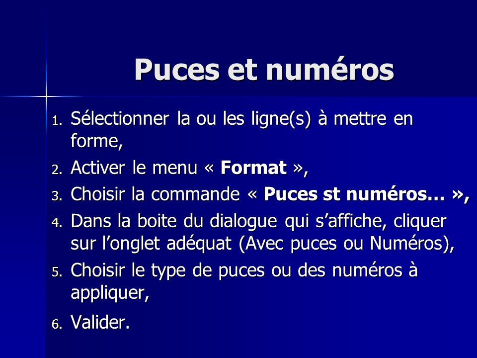 Puces et numéros 1. Sélectionner la ou les ligne(s) à mettre en forme, 2. Activer le menu « Format », 3. Choisir la commande « Puces st numéros… », 4.