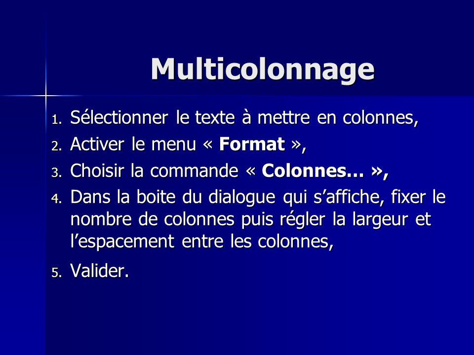 Multicolonnage 1. Sélectionner le texte à mettre en colonnes, 2. Activer le menu « Format », 3. Choisir la commande « Colonnes… », 4. Dans la boite du