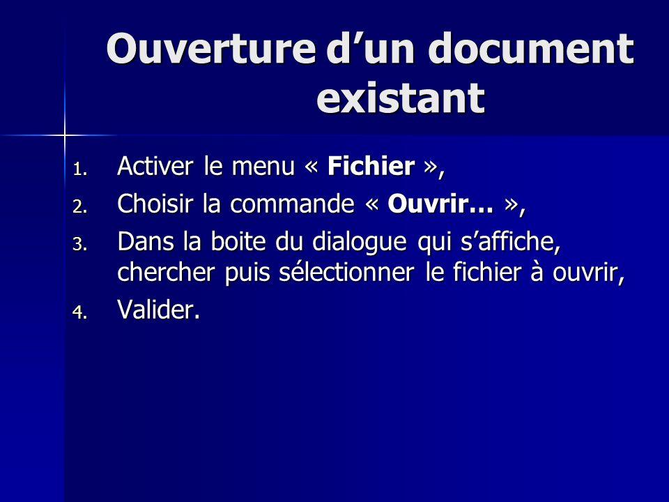 Ouverture dun document existant 1. Activer le menu « Fichier », 2. Choisir la commande « Ouvrir… », 3. Dans la boite du dialogue qui saffiche, cherche