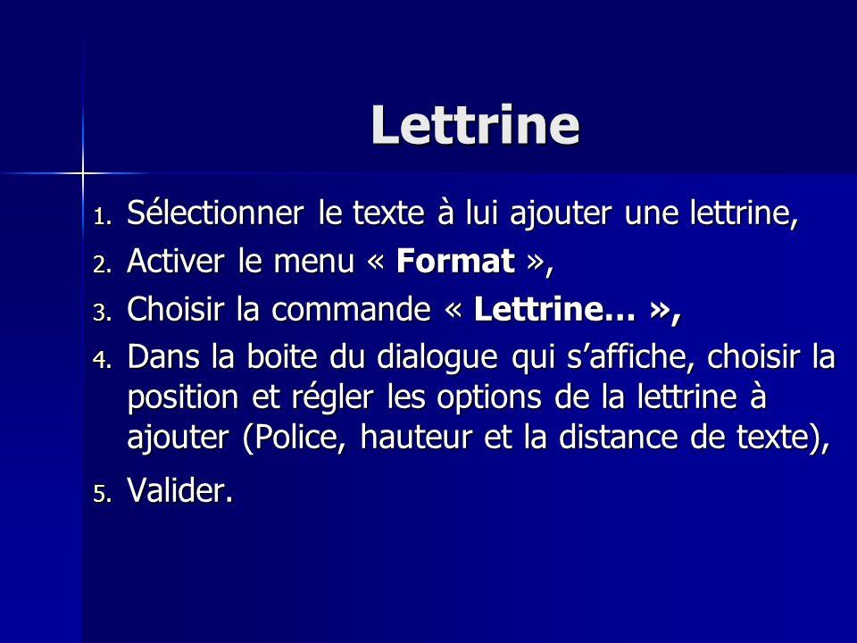 Lettrine 1. Sélectionner le texte à lui ajouter une lettrine, 2. Activer le menu « Format », 3. Choisir la commande « Lettrine… », 4. Dans la boite du