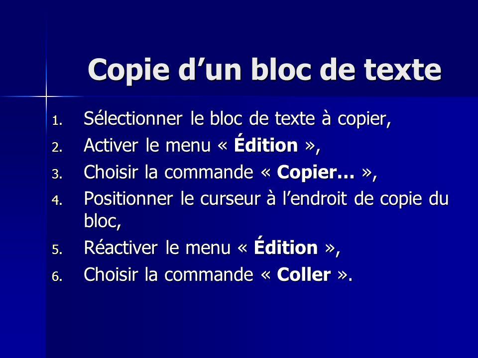 Copie dun bloc de texte 1. Sélectionner le bloc de texte à copier, 2. Activer le menu « Édition », 3. Choisir la commande « Copier… », 4. Positionner