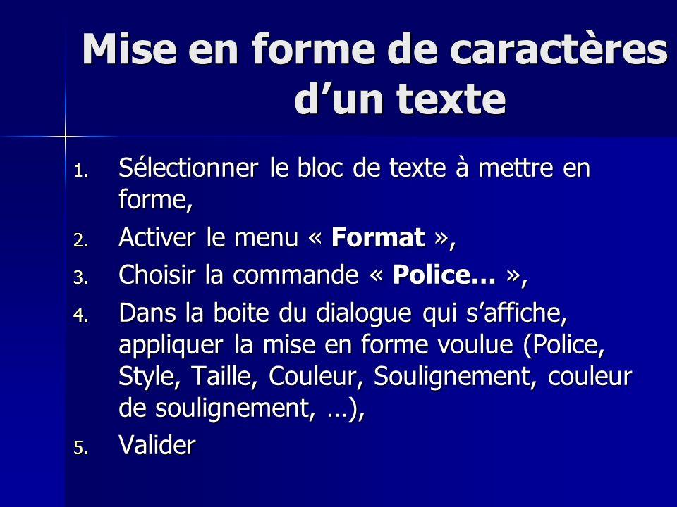 Mise en forme de caractères dun texte Mise en forme de caractères dun texte 1. Sélectionner le bloc de texte à mettre en forme, 2. Activer le menu « F